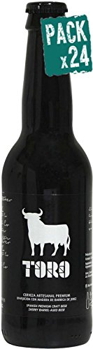 Pack 24 Cerveza artesanal Toro, botella de 33 cl, envejecida con barrica de Jerez Pedro Ximenez, aroma dulce y fresco, calidad Premium