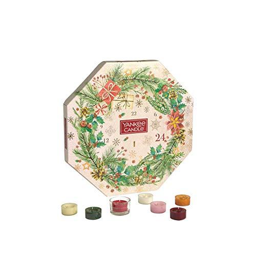 Yankee Candle Calendario de Adviento 2020 Corona | Juego de velas perfumadas de Navidad | 24 velas de té y 1 soporte | Colección mágica de la mañana de Navidad