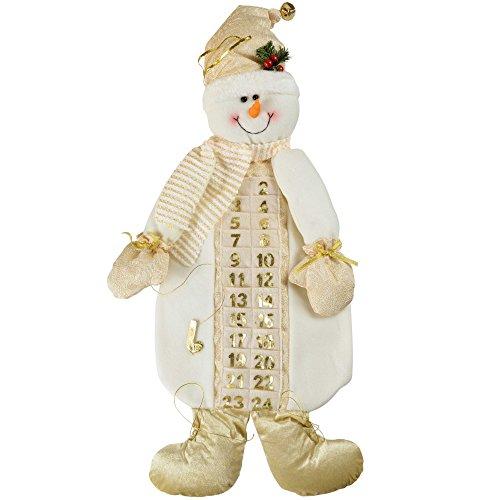 WeRChristmas - Calendario de adviento (66 cm), diseño de muñeco de Nieve, Color Blanco y Dorado