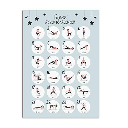 Nastami - Calendario de Adviento para fitness, DIN A3, calendario de Adviento, ejercicios
