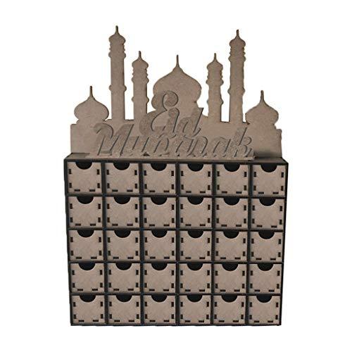 Zhoujinf Eid Decoraciones, madera MDF Eid Mubarak, calendario de adviento musulmán adorno islámico regalo decoración DIY