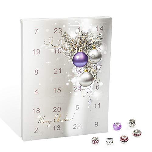 VALIOSA 1000 Calendario de Adviento con Joyería Merry Christmas, 1 Pulsera + 1 Collar + 22 Perlas, púrpura (1 Conjunto, 24 Piezas)