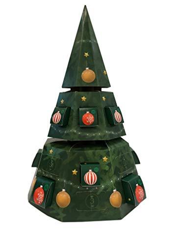 Debe Calendario de Adviento para rellenar, 24 puertas, calendario de Navidad, set de manualidades, cajas y puertas para rellenar, cartón de alta calidad, árbol de Navidad (verde con bolas)