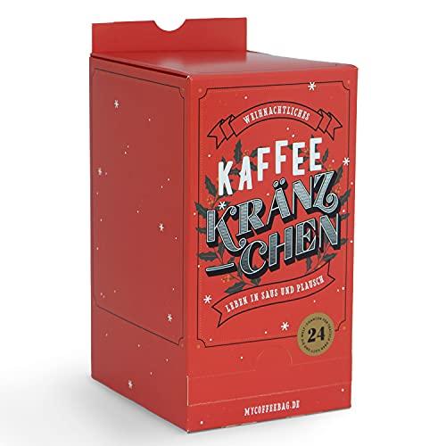 Calendario de Adviento 2021 con 24 filtros individuales pequeños (Coffeebags) en caja de regalo para prepararse directamente en la taza, equipado con filtro de café de alta calidad.