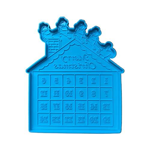 DONTHINKSO Calendario de cuenta atrás de Navidad de resina epoxi molde de calendario de Adviento de Navidad Molde de silicona DIY manualidades decoración del hogar herramientas de fundición