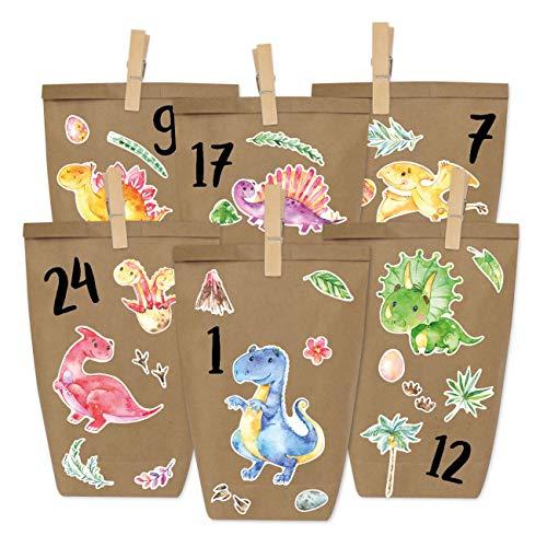 DIY Calendario de Adviento - Dinosaurio para Pegar - con 24 Bolsas de Papel para llenar - Navidad y Adviento 2019