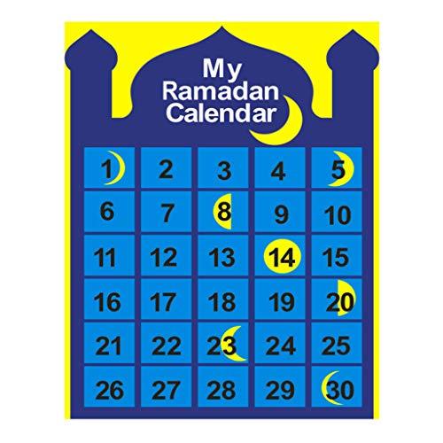 Congchuaty Ramadan - Calendario colgante con cuenta atrás para colgar en la pared (fieltro), diseño de luna, musulmán