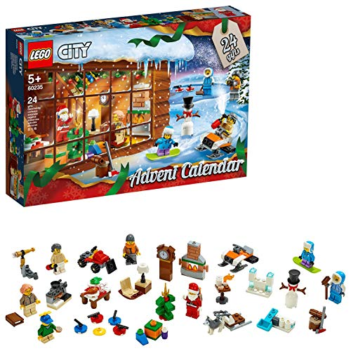 LEGO City Town - Calendario de Adviento 2019, Set con 24 Juguetes de Construcción, Incluye Minifigura de Papá Noel y un Perro Husky (60235)