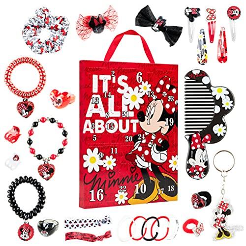 Disney Calendario Adviento 2021, Calendarios de Adviento de Juguete con 24 Accesorios Pelo Niña y Joyas de Minnie Mouse, Regalos de Navidad Para Niñas