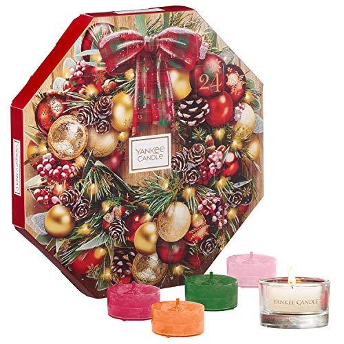 Yankee Candle Set de Regalo de Calendario de Adviento con 24Velas de Té Aromáticas y un Portavelas para Velas de Té de Cristal, Estuche de Regalo de Guirnalda Navideña