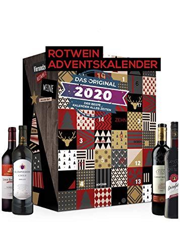 Calendario de adviento del vino tinto con 24 tipos de vino de todo el mundo | Regalo calendario vino tinto para adultos | Prueba el vino