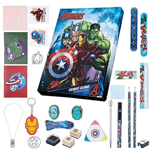 Marvel Calendario de Adviento, Calendario Adviento de Los Vengadores, Incluye 24 Sorpresas de Papeleria con Capitan America Hulk Iron Man y Thor, Advent Calendar Navidad