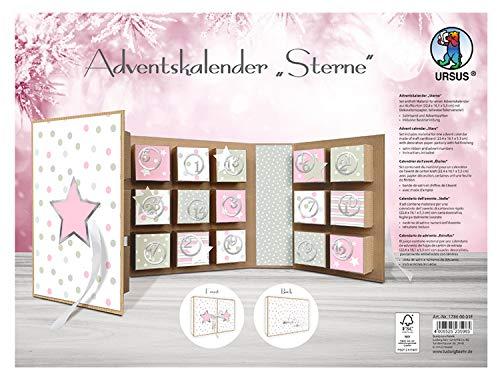URSUS diseño de Estrellas, de cartón de estrás, Material para un Calendario, Incluye Papel Decorativo, Cinta de satén y números de Adviento, Aprox. 22,4 x 16,1 x 5,3 cm, Rosé/gris, talla única