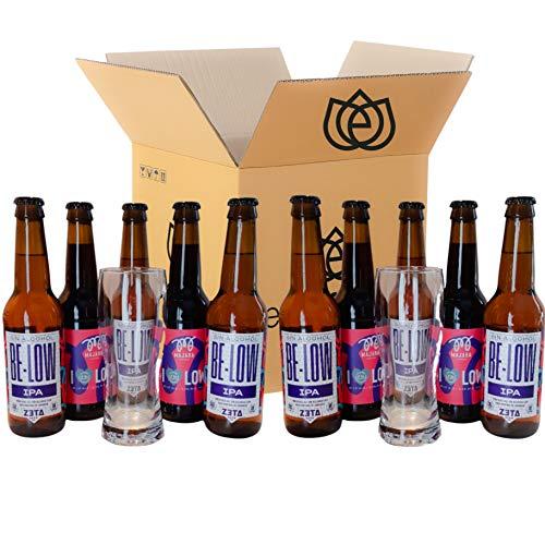 PACK DEGUSTACIÓN REGALO (10x33cl y 2 vasos) - CERVEZAS BAJO CONTENIDO EN ALCOHOL - 2 VARIEDADES DE CERVEZAS MAJARA CON VASO INCLUÍDO