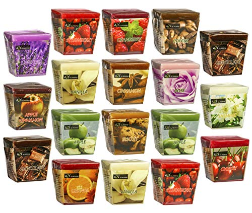 Set de 18 velas aromáticas perfumadas All2shop de 18 aromas surtidos para relajación y aromaterapia (18 aromas surtidos, normales)