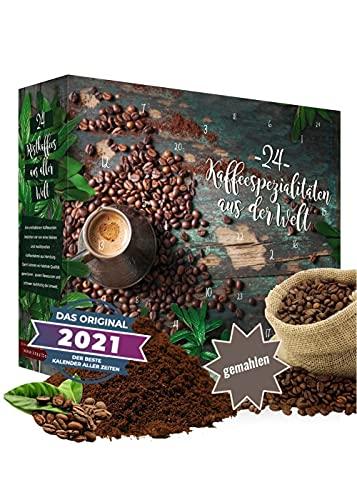 Calendario de adviento 2021 café molido en grano I café calendario de adviento con 24 exquisitas variedades de café de todo el mundo como un juego de degustación de 480 g del mejor café