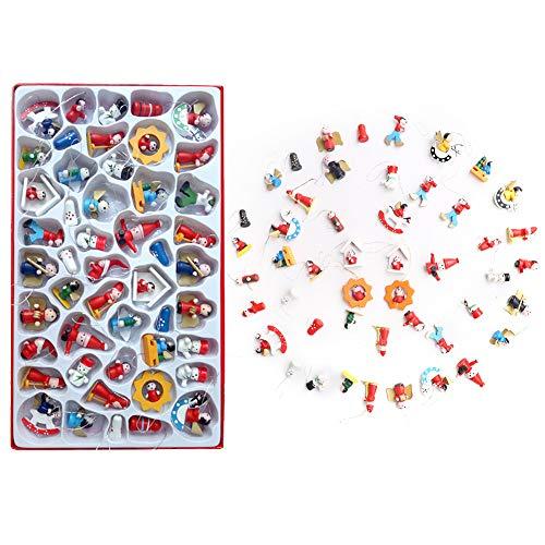 Gukasxi 48 Piezas DIY Adorno en Miniatura de Navidad Mini Adornos de Madera para árboles de Navidad Figuras Calendario de Adviento Manualidades Colgantes Navideños Decoración de Árboles