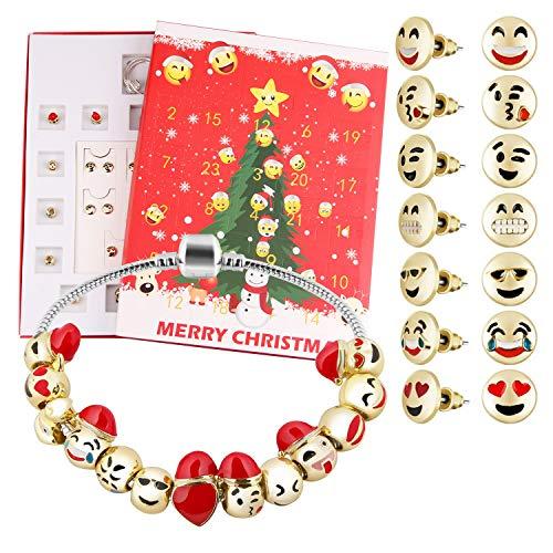 Calendario de Adviento Joyas, Calendario de Adviento Chica Navidad Adviento Cuenta atrás Bricolaje 24 días Pulsera Beads Studs Set Sorpresa Caja para niña Mujer
