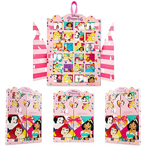 Disney Calendario Adviento 2021, Calendarios de Adviento de Juguete con 24 Joyas Niña de las Princesas Disney, Regalos de Navidad Para Niñas