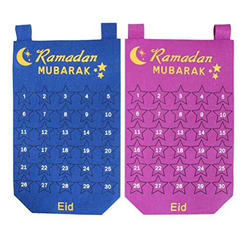 Amosfun 2 Piezas Ramadan Calendario Cuenta Regresiva Calendario de Adviento Cuenta Regresiva Calendario Colgante de Pared Decoración para La Decoración de La Oficina en Casa (Púrpura Azul)