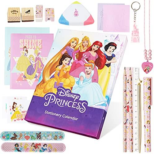 Disney Calendario Adviento 2021, Calendarios de Adviento de Juguete con 24 Sorpresas de Papeleria de las Princesas Disney, Regalos de Navidad Para Niñas