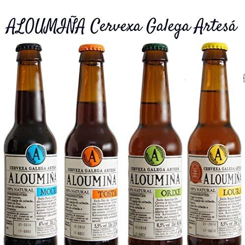 Pack Degustación Cerveza Artesana Aloumiña (8x33cl) 2x Aloumiña Loura, 2x Aloumiña Tosta, 2x Aloumiña Moura, 2x Aloumiña Orixe