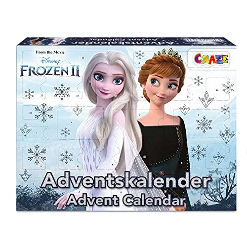 CRAZE Calendario adviento Frozen 2- Calendario de navidad Disney Original 2021 con juguetes y material escolar para niños y niñas. Elsa y Ana