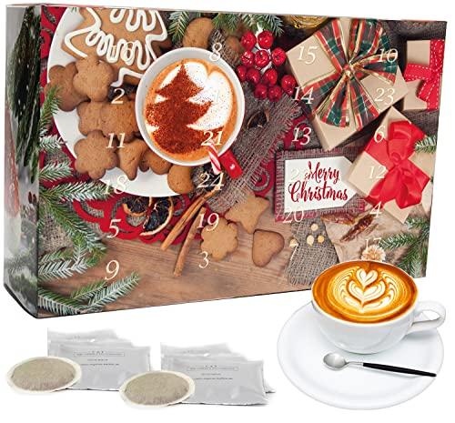C&T Coffee Calendario de Adviento 'Bio/Fair' (vainas de café) 2021 con 24 cafés orgánicos, raros y de comercio justo de todo el mundo más una sorpresa gratis en el calendario | Calendario de Navidad