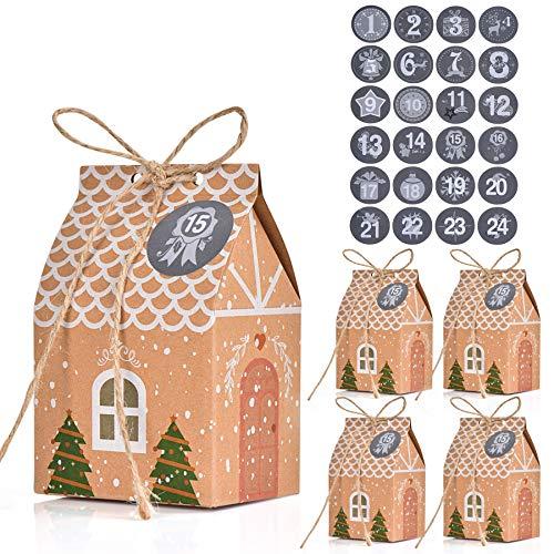 FORMIZON 24 Cajas de Regalo Navidad, Bolsa para Calendario de Adviento, Navidad Bolsas de Regalo con 24 Pegatinas para Navidad, Fiesta, Decoración de Regalos