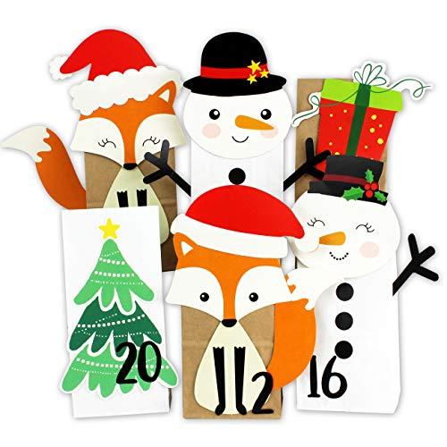 DIY Calendario de Adviento - Perforado Bosque de Invierno - 24 Blanco y marrón Bolsas de Papel para llenar - Navidad y Adviento 2019