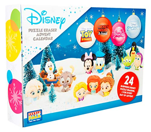 Sambro DIS-6975 - Calendario de Adviento con puzzle y goma de borrar, figuras de Disney Frozen, Princesa, Toy Story y y muchos más, para niños a partir de 3 años, multicolor , color/modelo surtido