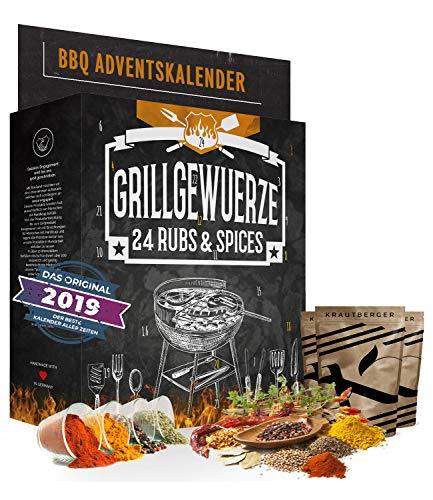 BBQ Grill Advent Calendar I Calendario navideño con 24 especialidades de especias nobles I Set de regalo de barbacoa picante Hierbas y especias de todo el mundo