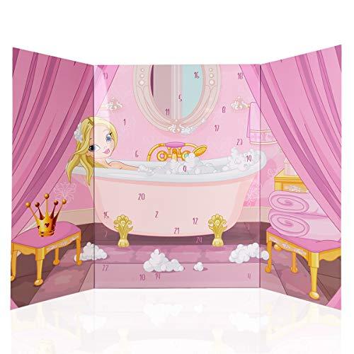 Calendario de Adviento de princesa de Accentra, para niñas, con 24 productos de cuidado corporal y de baño, productos cosméticos para una época de Adviento variada y elegante