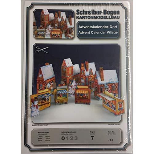Schreiber-Bogen construcción de Modelos de cartón Calendario de adviento Aldea