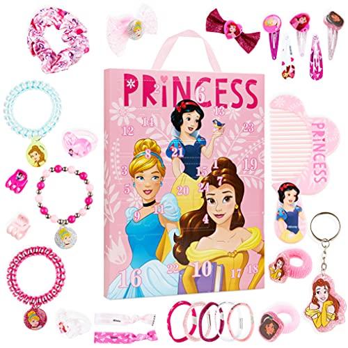 Disney Calendario Adviento 2021, Calendarios de Adviento de Juguete con 24 Accesorios Pelo Niña y Joyas de las Princesas Disney, Regalos de Navidad Para Niñas