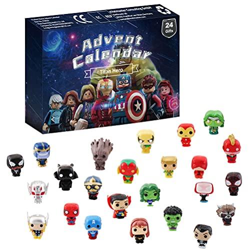 BSTCAR Calendario de Adviento 2021, 24 días juguetes de cuenta regresiva de Navidad, incluye juguetes de barro de goma, figuras de vengadores de molusco, dinosaurio, animales del océano