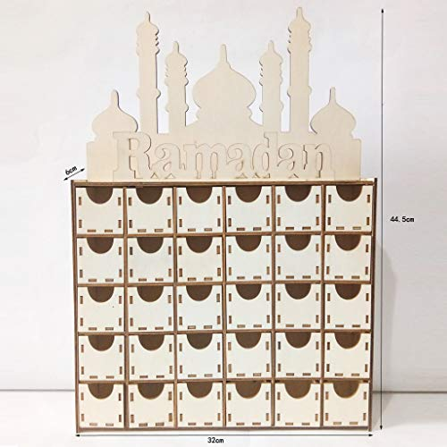 ATATMOUNT Calendario de Adviento de Ramadán Eid Mubarak de Madera, cajón de Cuenta atrás, Adorno de Decoraciones de Castillo islámico musulmán