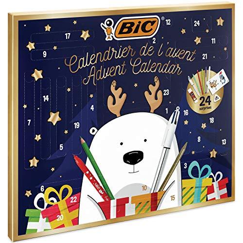 BIC, Calendario de Adviento - 24 Artículos de Escritura:/6 Rotuladores Magic/6 Lápices de Colores/4 Ceras/1 Pegamento/1 Lápiz de Grafito/1 Goma/3 Bolis; 24 Tarjetas y 20 Adhesivos para Colorear