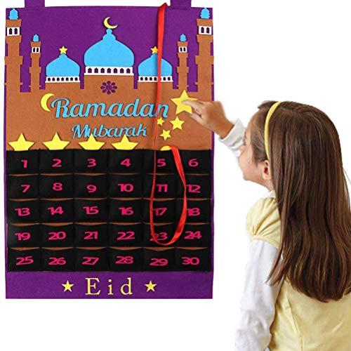 Mankoo Calendario De Adviento 2020 Decoraciones De Ramadán, Calendario De Ramadán Eid Mubarak Colgante Fieltro Calendario De Cuenta Regresiva para Niños Eid Regalos Decoraciones