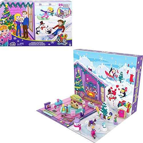 Polly Pocket Calendario de adviento Navidad 2021, 25 accesorios sorpresa de juguete (Mattel GYW07)