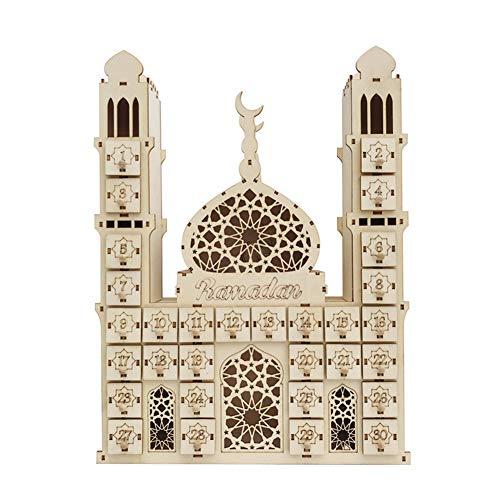 LZDseller01 - Calendario de adviento de madera MDF musulmán Eid Mubarak, calendario de adviento, diseño de Eid Mubarak Ramadan, No nulo, 2, 40x30x6cm