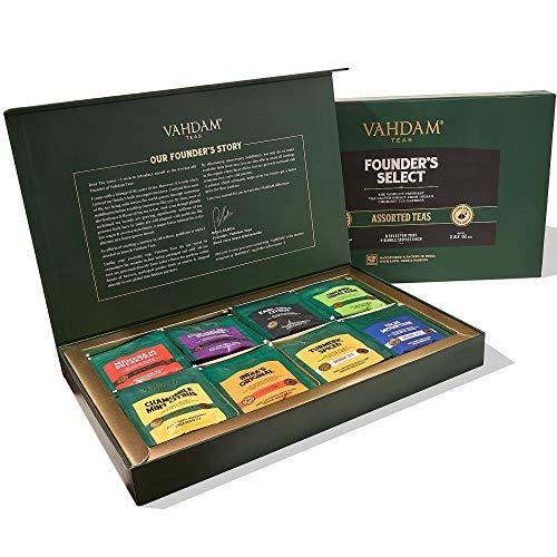 VAHDAM, muestra de bolsitas de té surtidas - Juego de regalo de 8 sabores de té, 40 bolsitas de té | Ingredientes 100% naturales | Regalos de cumpleaños para hombres