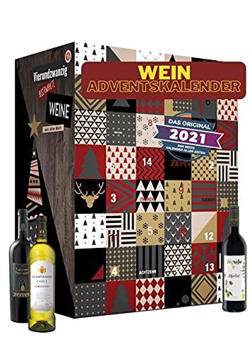 Calendario de adviento del vino con 24 tipos extraordinarios de vino de todo el mundo | Regalo para adultos | Beber vino de diferentes países | probar nuevos vinos tintos vinos blancos