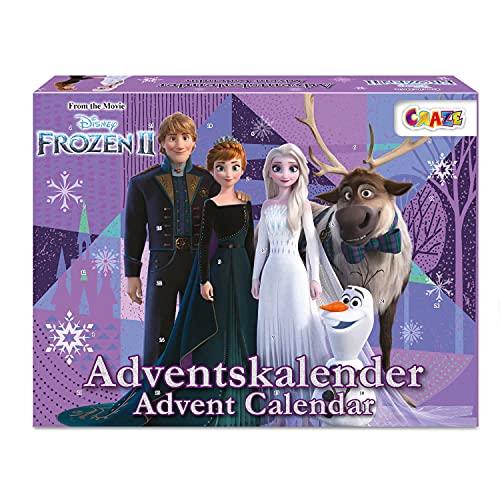 CRAZE Calendario Adviento FROZEN 2020, Elsa y Anna para niños calendario de juguetes con contenido creativo y grandes sorpresas 24652