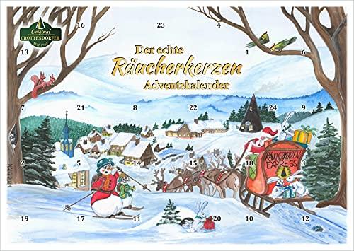 Crottendorfer Räucherkerzen - Calendario de Adviento con 24 conos de incienso - Diseño 2021 velas de incienso navideñas - Fabricado en Alemania.