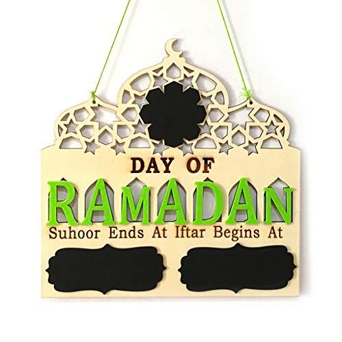 Nankod Islam Ramadan - Tablero de Madera para Colgar Mensajes de Adviento con Cuenta atrás en la Cuenta atrás para Eid Mubarak