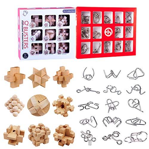 Vengo 24Pack Rompecabezas Metal Puzzles de Madera 3D Juegos de Ingenio Calendario de Adviento para Niños y Adultos