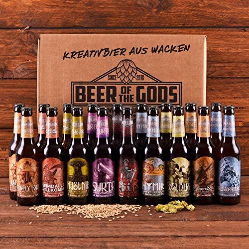 Wacken Brauerei Göttergabe - Pack de regalo de cervezas caseras - Set de degustación - 20 Cervezas de los dioses (de 0,33 l cada una)