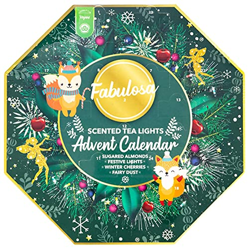 Fabulosa 24 velas aromáticas de té calendario de Adviento almendras azucaradas, luces festivas, cerezas de invierno, polvo de hadas