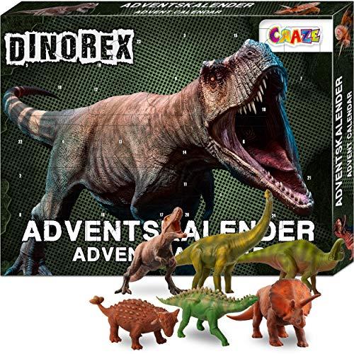 CRAZE Premium Advent Calendar 28186 adviento 2020 DINOREX Dinosaurio Calendario de Navidad para niños con Contenido Creativo y Grandes sorpresas, Color Play Set
